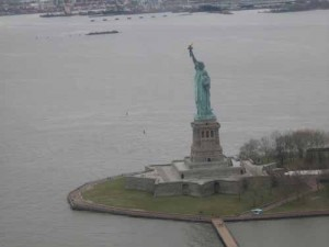View of the Statue of Liberty from a helicopter